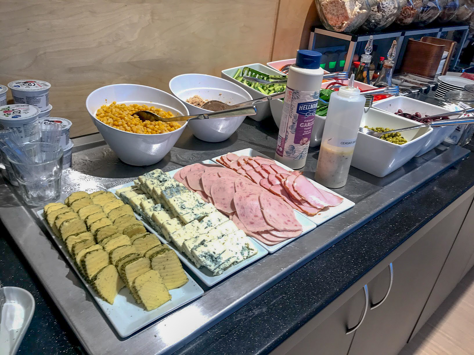 Cold foods in the Primeclass Business Lounge at Riga International Airport