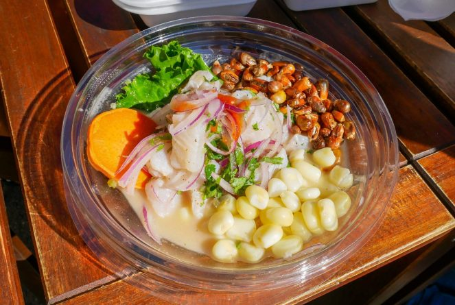 white fish ceviche, lupine beans, sweet potato slices and salad