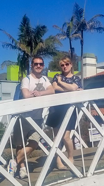 Mr & Mrs Fluskey on a bridge over a canal in Venice, Los Angeles on the Venice Beach Secret Food Tour