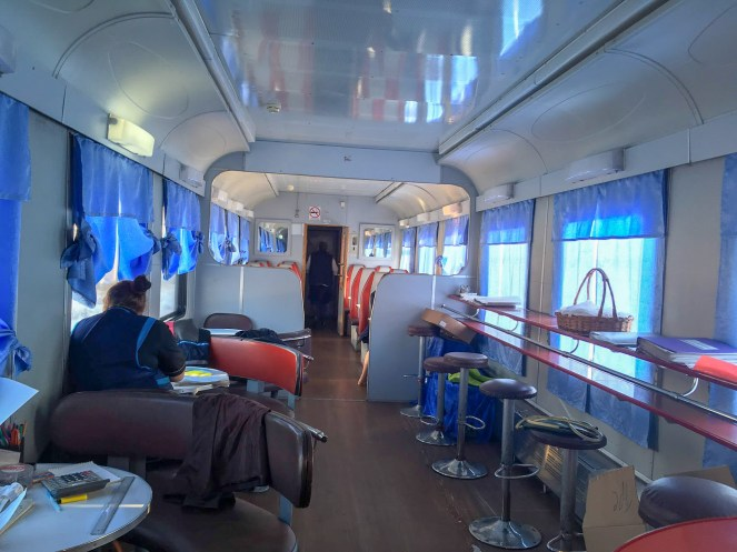 The dining car on a Trans-Siberian Train