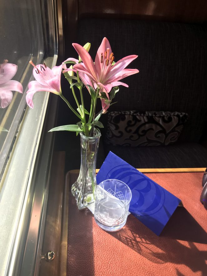 Flowers in the Deluxe Suite on The Blue Train