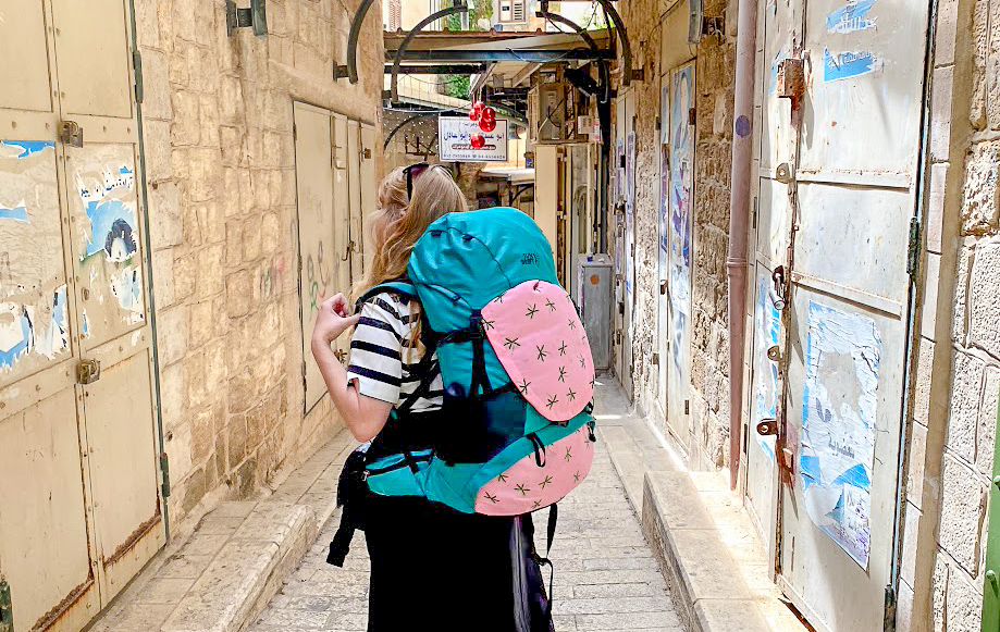 Rosie wearing a SunDrift Panglao 55L Backpack in Israel