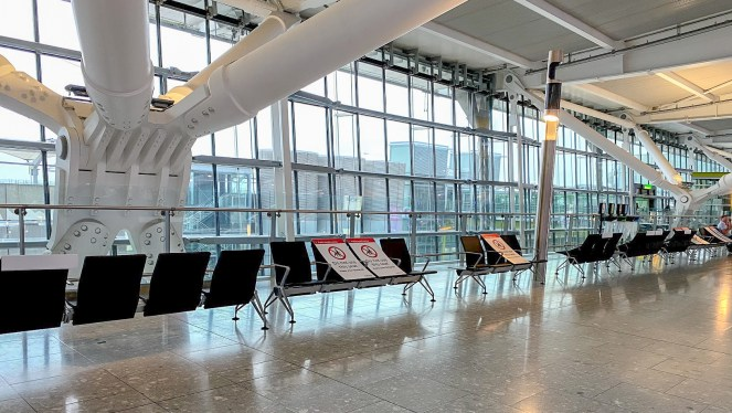 chairs at an empty London Heathrow Terminal 5