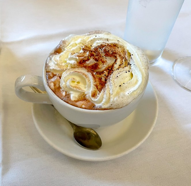 a hot chocolate in a white cup with whipped cream and chocolate power at The Pump Room Bath