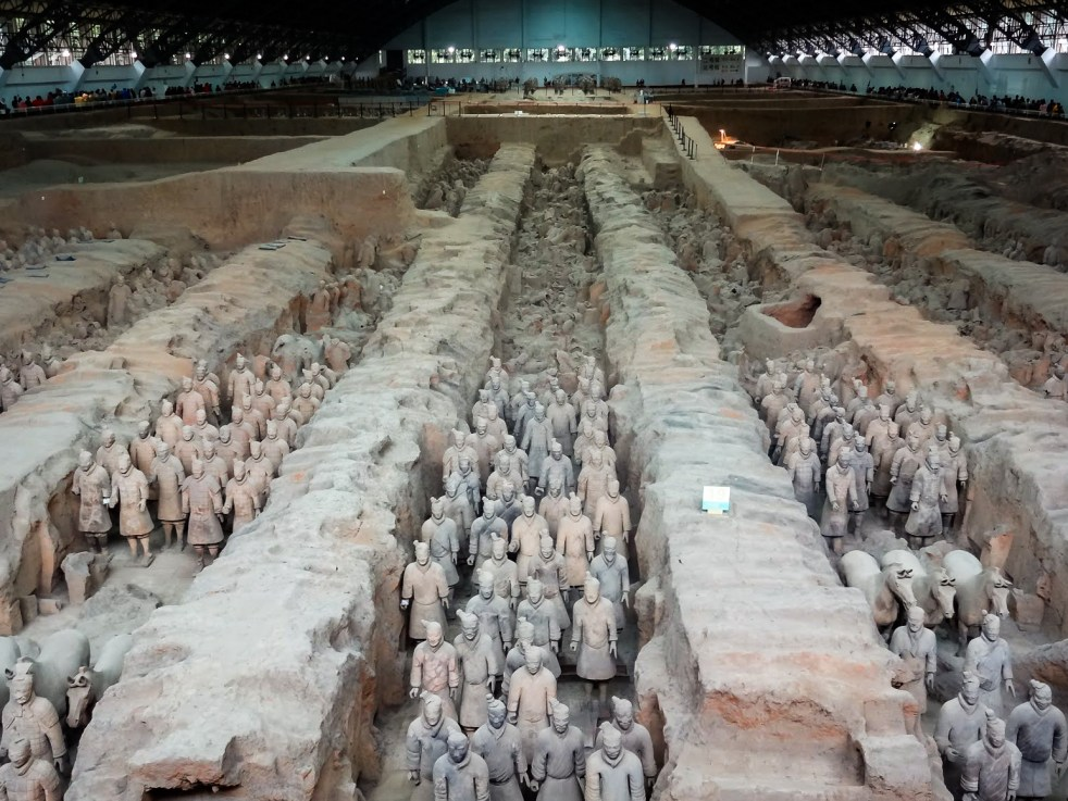 A long view of the Terracotta Warriors of the Terracotta Army inside Pit 1 at Emperor Qinshihuang's Mausoleum, Xian, China