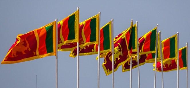 a line of 10 Sri Lankan flags