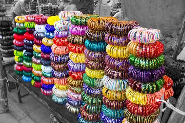 Clock Tower Jodhpur, Bazaar, Jodhpur, Rajasthan, India, colourful bangles