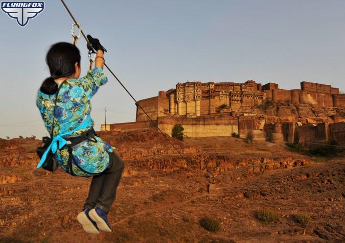 Flying Fox, Flying Fox Jodhpur, 6 ziplines in Mehrangarh, Mehrangarh Fort, Jodhpur, what to do in Jodhpur, things to do in Jodhpur, flying fox in Jodhpur, Rajasthan, zip lining, zip line tour, adventure activities
