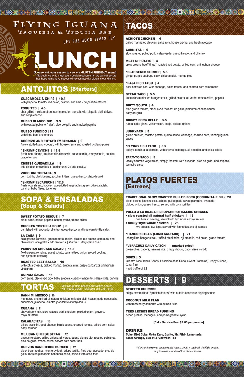 Flying Iguana Lunch Menu
