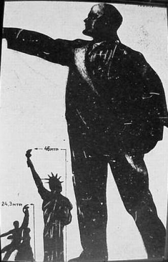 Worker and peasant, Statue of Liberty and Lenin, for scale. Source:http://gadzetomania.pl/4945,niezwykle-konstrukcje-cz-11-palac-rad-najwyzszy-budynek-swiata