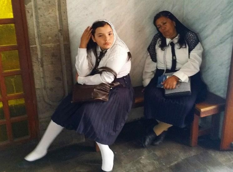 Church attendants fallen asleep in a church in Zapopan, Jalisco, Mexico