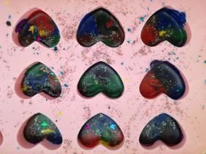 Making rainbow crayons