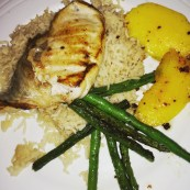 Pan fried fish, coconut rice, seared mango, and stir fried green beans