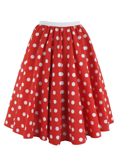Ladies Polka Dot Skirt & Scarf Rock & Roll Fancy Dress