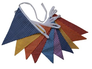 3m multi gingham double sided bunting