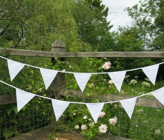 White Wedding Fabric Bunting Single or Double sided 10m 30 Flags