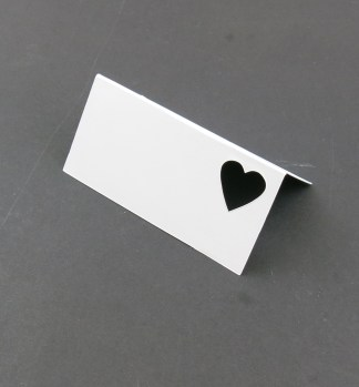 White place cards heart cutout