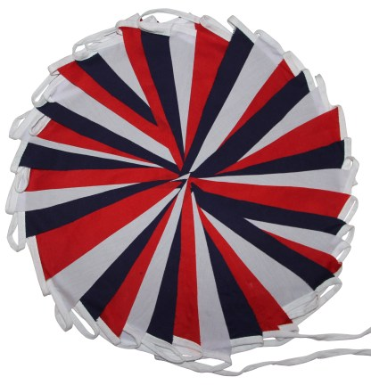 Red White and Blue Fabric Bunting Single or Double sided
