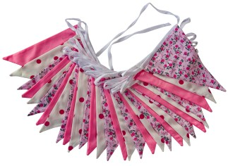Double Sided Pink floral Bunting 3m and 10m lengths