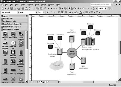 Starting A Network Diagram Microsoft Visio Version 2002 Inside