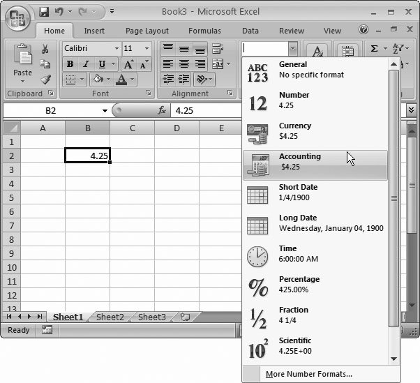 Section 5.1. Formatting Cell Values | Excel 2007[c] The Missing Manual