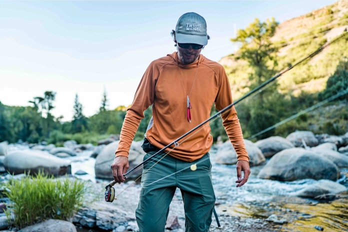 wading with the 12wt hoodie