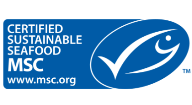 Sustainable seafood label with cartoon fish