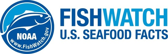 Blue NOAA Fish Watch Logo with Fish