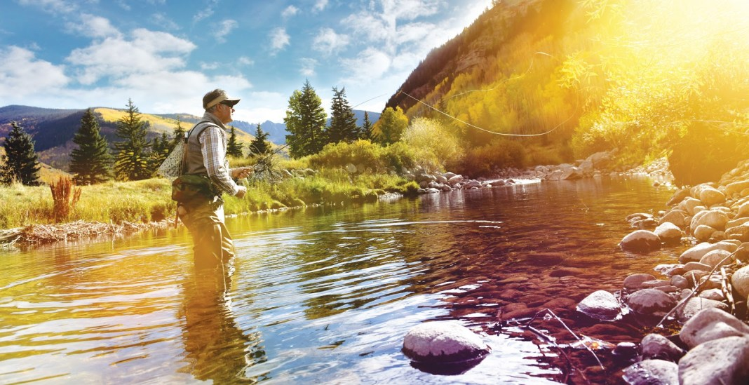 Angler standing in creek and casting