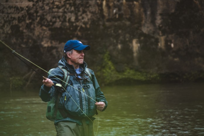 Delivering a first cast to a rising Trout