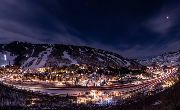 Night time scene of the town of Vail.