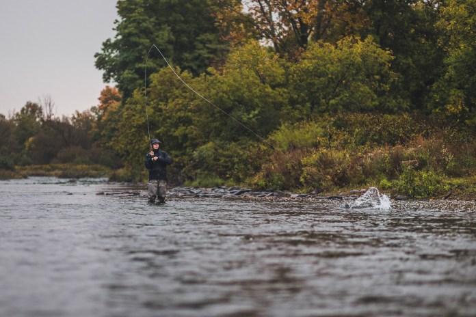 Angler fighting a King salmon