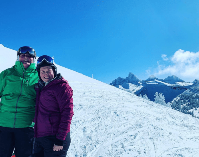 Serene Cusack skiing