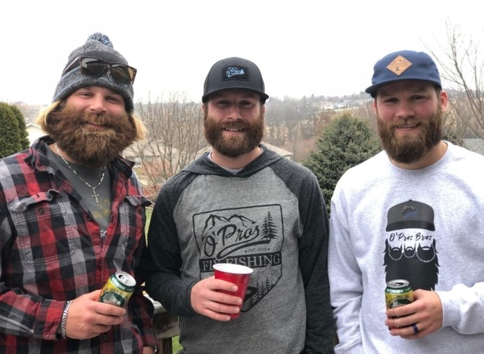 The O'Pros bearded brothers hanging out in the yard