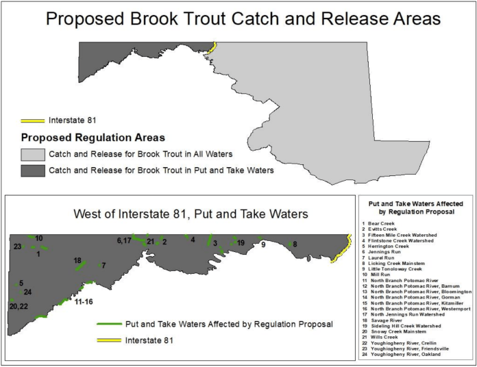 Maryland brook trout regulation map