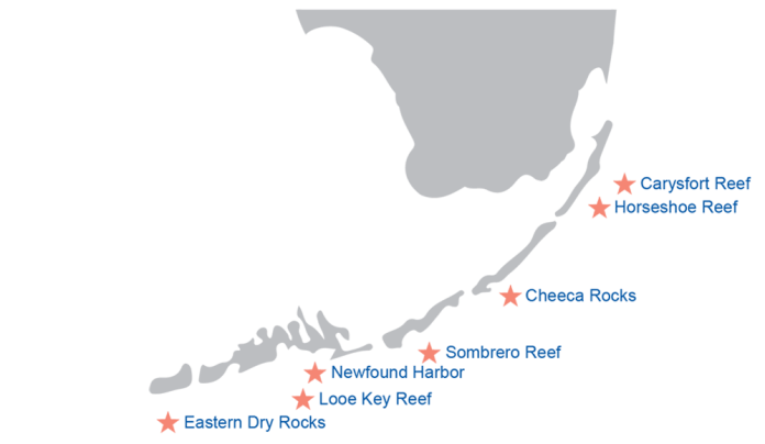 Map displaying the seven reefs where coral will be transplanted in Mission: Iconic Reefs.