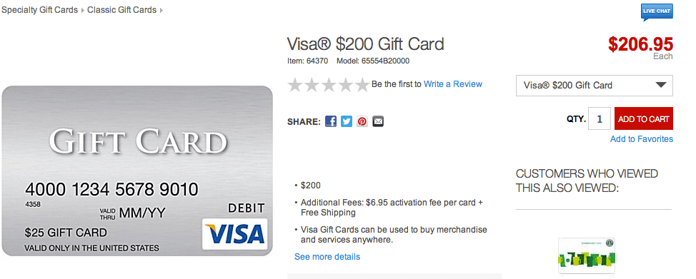 $200 Visa Gift Cards from Staples Available Without the Fee!