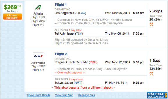 LAX-TLV for $269.80