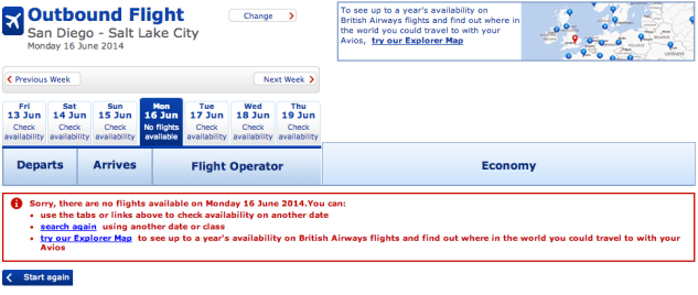 But when I look for that same flight on BA's website I don't see any availability