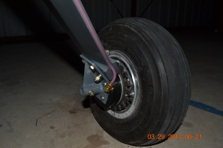 Here you can see a close up of the brake line and how it fits into the rear of the machined landing gear legs. Thank you James Weseman for machining the landing gear legs for us.