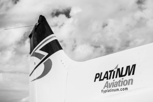 Platinum aviation logo on tail of plane
