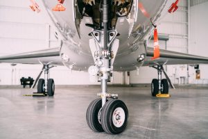 Jet plane undercarriage with landing gear
