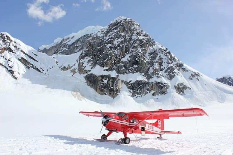 Little red plane in Swiss Alps