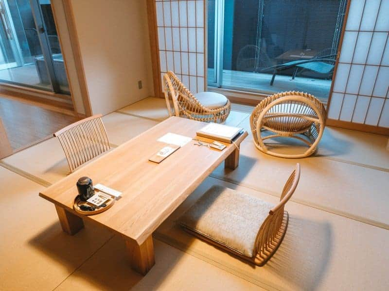 Japanese seating area with chairs and table