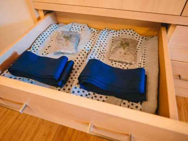 Traditional Japanese robes in drawer