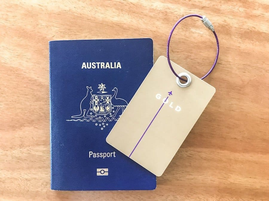 Australian passport and gold frequent flyer card