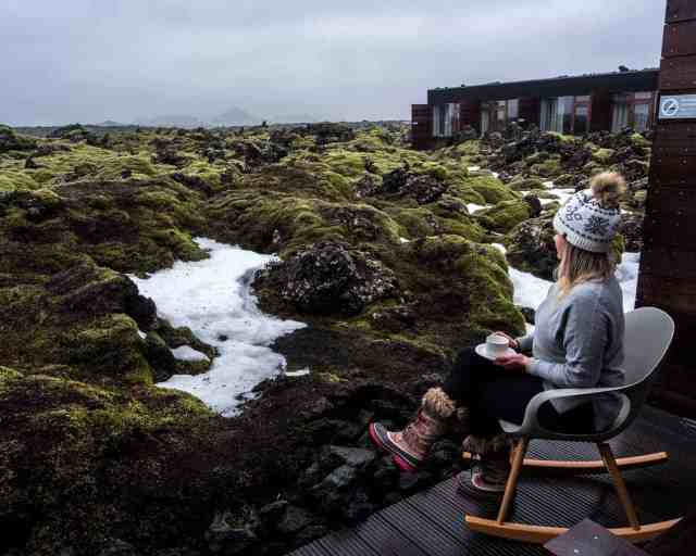 Balcony view with coffee at The Sicica Hotel at The Blue Lagoon in Iceland