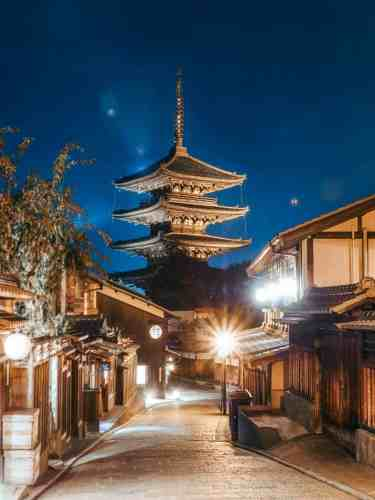 Ninenzaka Temple at blue hour with streets and shop houses lit up, Kyoto.