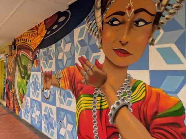 Painted murals on a wall in Little India, Singapore