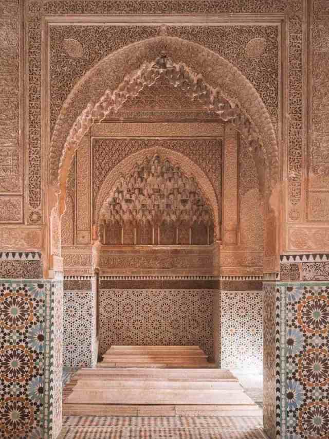 Intricate tilework inside a Moroccan palace and hammam spa.